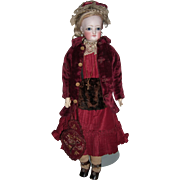 "15 1/2"" Antique French Fashion Doll W/Original Wig, Dress, Jacket, Jewelry, Muff & Sac De Voyage w/Bird - Layaway"
