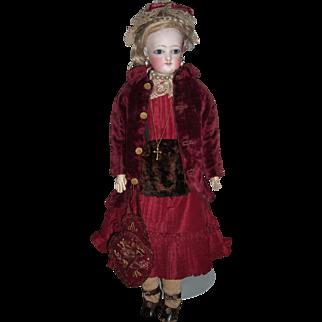 """15 1/2"""" Antique French Fashion Doll W/Original Wig, Dress, Jacket, Jewelry, Muff & Sac De Voyage w/Bird - Layaway"""