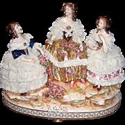 Very Large Antique Dresden Lace Volkstedt Rudolstadt Figurine - Layaway