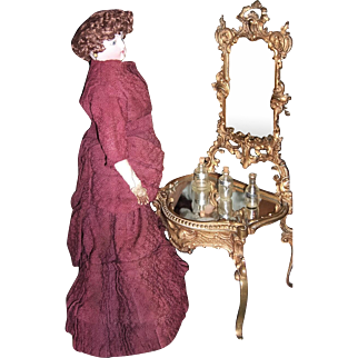 "13"" French Antique Ormolu Brass Bronze Doll Vanity with Mirror - Layaway"