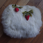 RARE adorable Winter Muff with Strawberries for Larger Doll