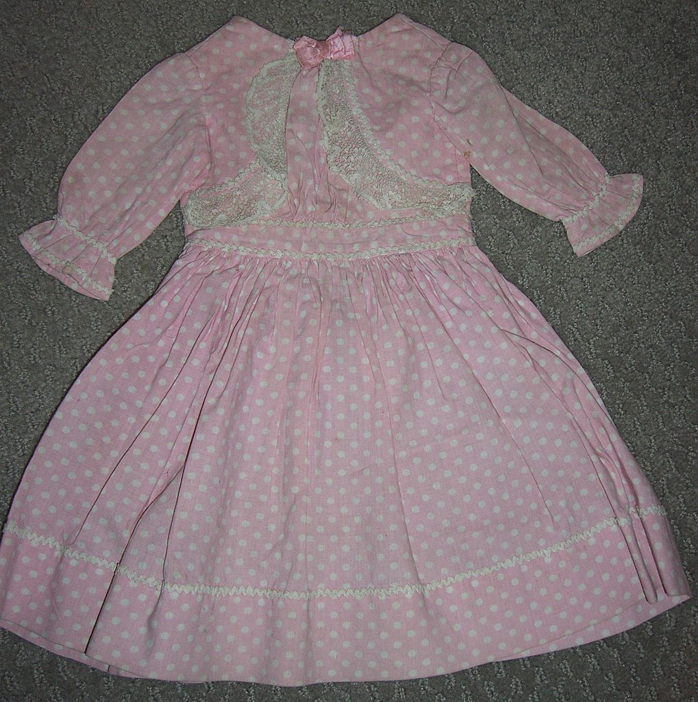 Mint Antique Pink & White Cotton Doll Dress