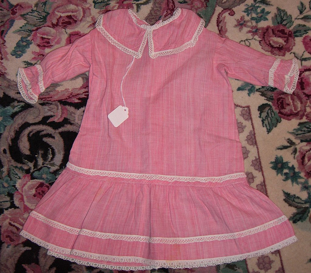 Wonderful Antique Pink Striped Cotton Dress for Large Doll