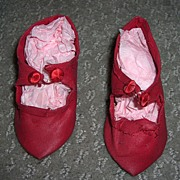 "3 1/4"" Red Silk Antique Doll Shoes"