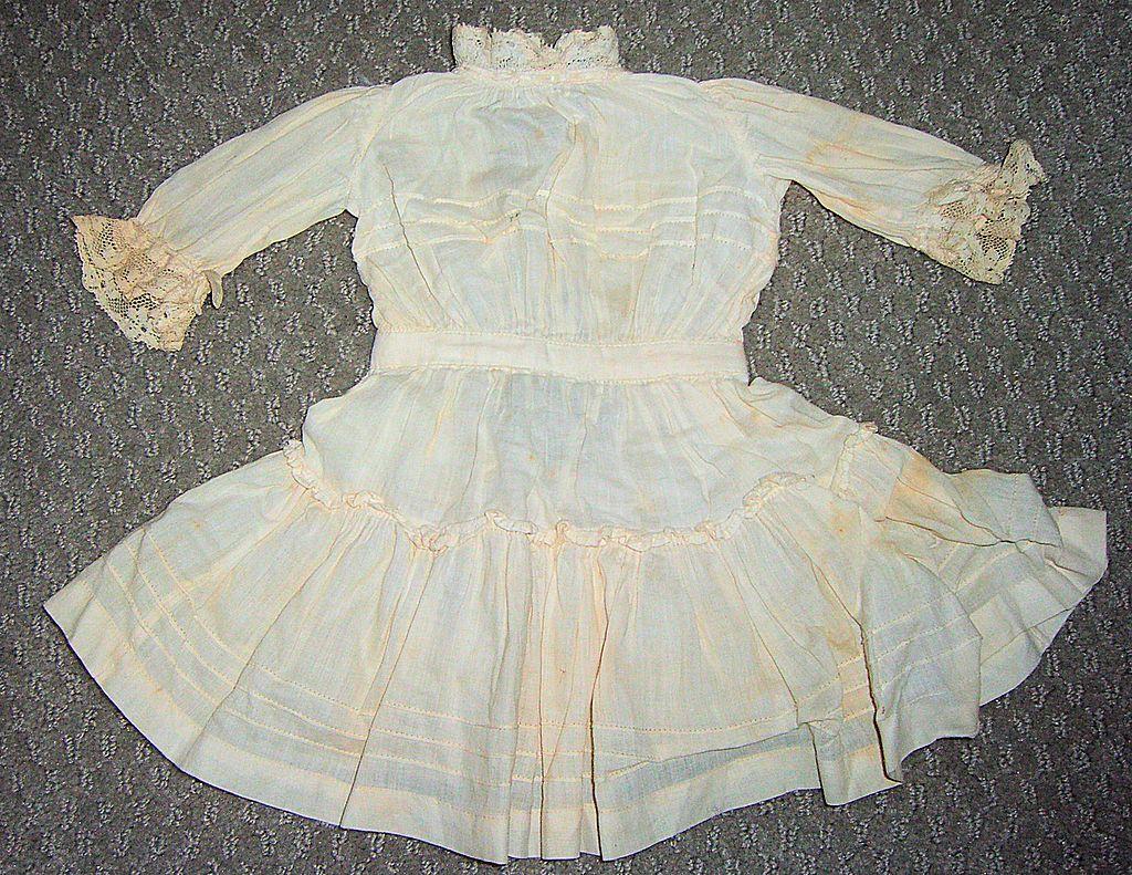 """11 1/2"""" Long Antique Cotton Doll Dress"""