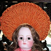 Stunning Burnt Orange Velvet Doll Hat Bonnet