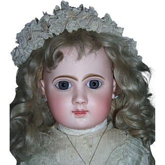 Early Pressed Bisque Steiner Antique Doll - All Original Including Wig & Pate - Layaway