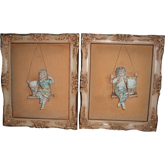 RARE Pair of Mounted Bisque Figurine Swingers - Antique Doll Lover Decor - Layaway