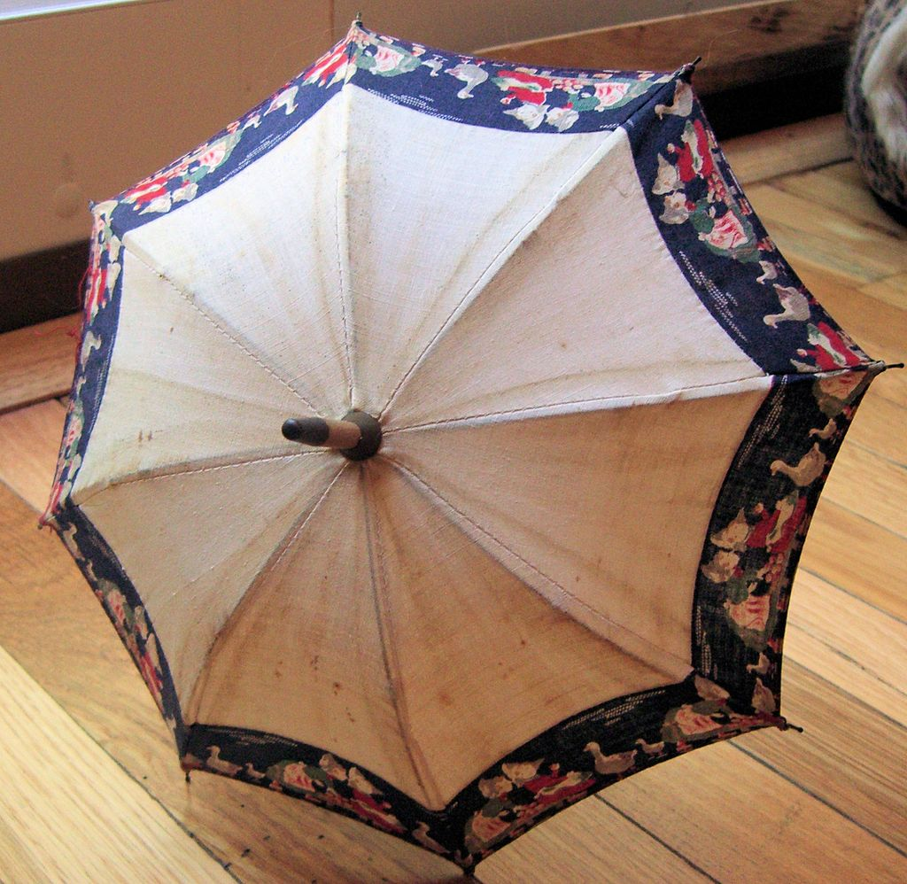 RARE antique doll parasol with children and geese border