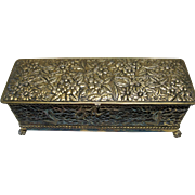 Gold Gilt Victorian Period Ornate Repousse Locking Jewelry/Glove Box With Original Liner By Wilcox