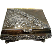Ornate Victorian Period James W. Tufts Jewelry Box with Red Velvet and Silk Lining.