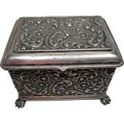 Victorian Period Repousse Locking Jewelry Box Made By The Wilcox Silver Plate Company