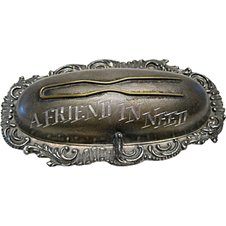 """Victorian Period Hair Pin Holder """"A Friend In Need"""" with Repousse Rim"""