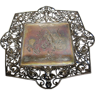 Very Ornate Victorian Cake Plate by James W. Tufts Boston