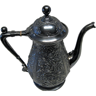 Very Ornate Victorian Period Repousse Coffee Pot by Reed & Barton