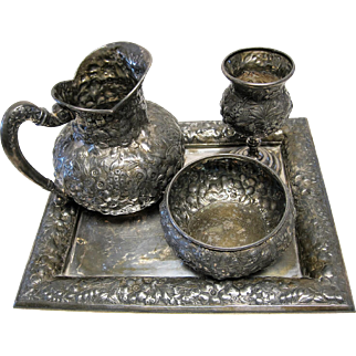 Ornate Victorian Period Repousse Water Set by Barbour Bros