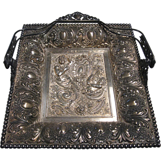 Very Ornate Victorian Repousse Basket by James W. Tufts Boston