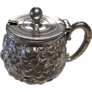 Ornate Victorian Silver Plate Repousse Mustard Pot by Barbour Bros