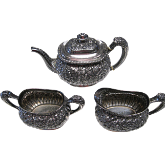 Ornate Victorian Period 3 Piece Repousse Tea Set by Simpson Hall Miller
