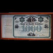 1869 $1000 South Carolina state bond. Signed by Governor Robert Kingston Scott - Civil War General from Pennsylvania.