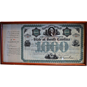 1869 $1000 South Carolina state bond. Signed by Governor Robert Kingston Scott - Civil War General from Pennsylvania.