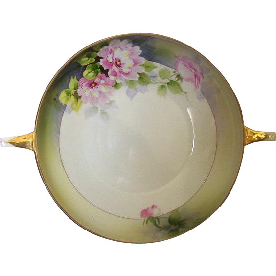 Nippon Porcelain Bowl,Two handled Hand Painted Rising Sun Mark.