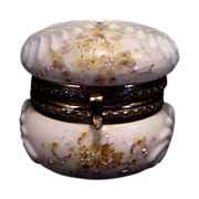 Exquisite Wavecrest Opal Glass Hinged Box ~ Shell Design ~ Hand Painted with Yellow flowers ~ C F Monroe Co Late 1800's