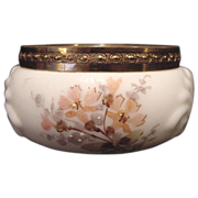 Exquisite Wavecrest Opal Glass Pin Box or Dresser Jar ~ Shell Design ~ Hand Painted with Peach Flowers ~ C F Monroe Co Late 1800's