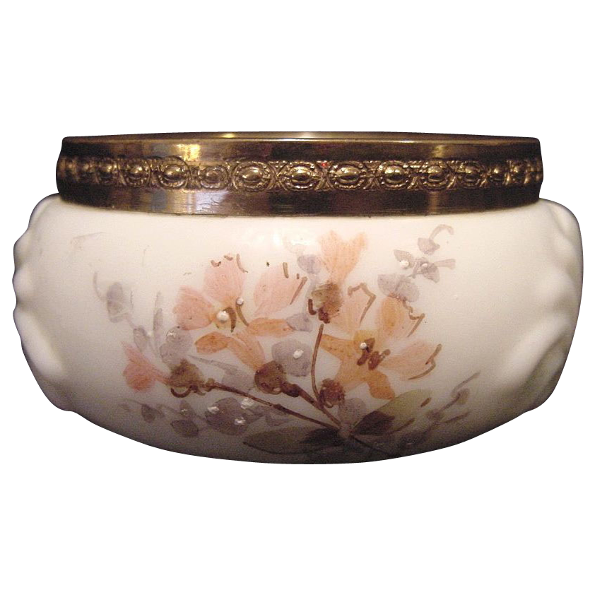 50% OFF Exquisite Wavecrest Opal Glass Pin Box or Dresser Jar ~ Shell Design ~ Hand Painted with Peach Flowers ~ C F Monroe Co Late 1800's