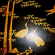 Large Black Lacquer Box with Red Headed Golden Cranes & Bamboo Decorations