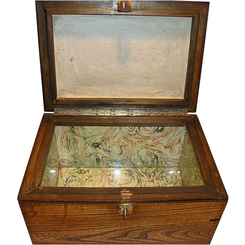 Handsome Red Oak Humidor or Tea Caddy ~ Glass & Earthenware Lined ca 1900's