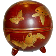 Round Lacquer Box ~ Red with Gold Paste Butterflies and Gold Koi Fish Decoration