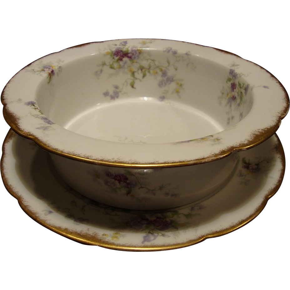 Awesome(2) PIECE SET. 9 1/2''  Limoges Porcelain Souffle Dish And Under Plate~ Factory Decorated with Purple & White Flowers ~  Ahrenfeldt Limoges 1894-1930