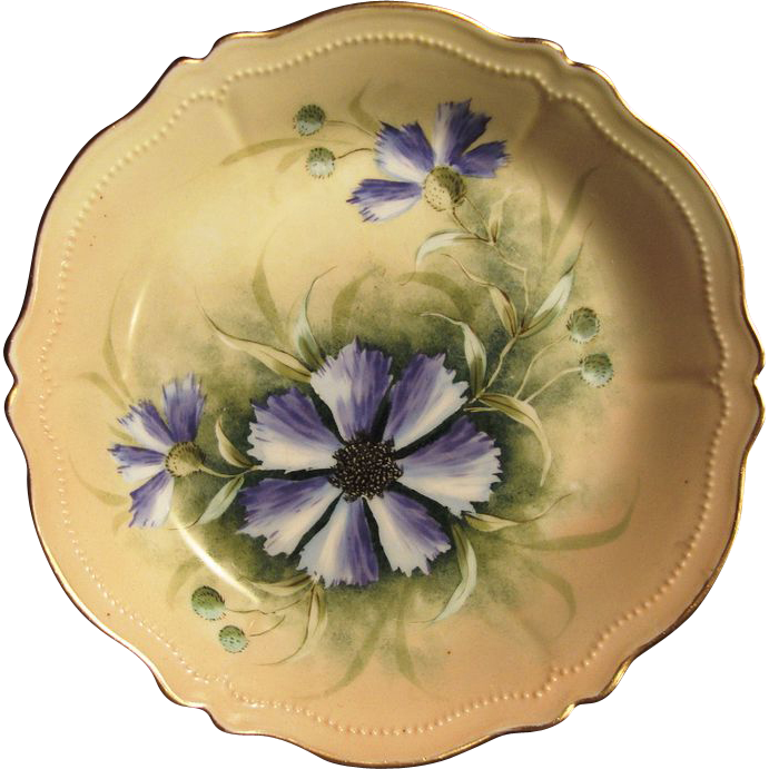 "Attractive Austrian Porcelain Bowl ~ Hand Painted with Purple Clematis ~ Artist Signed ""Jos Lycett""~ Oscar & edger Gutherz"