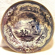 "Amazing 11 ½"" W English Blue & White Transferware Bowl ~ ""Damascus"" pattern by William Adams & Sons ~ Tunstall England (1829-1861)"
