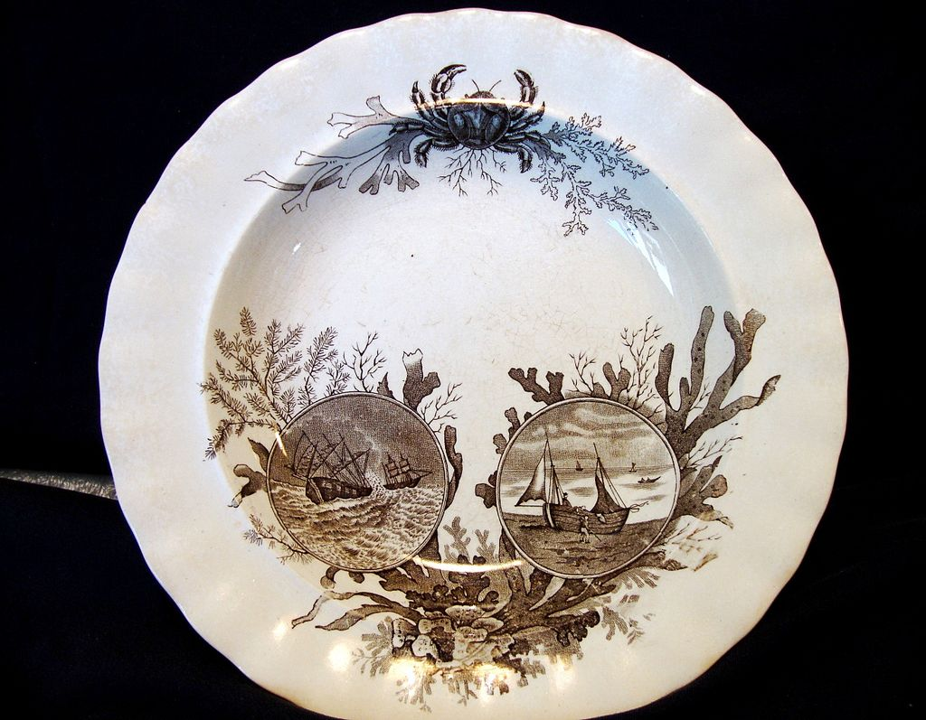 Wonderful  English Aesthetic Bowl ~''Oceana'' pattern - RARE, Brown Transfer with Crab and Nautical Scenes on Earthenware ~ Doulton & Co 1886