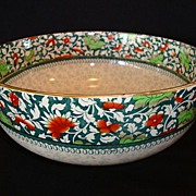 Wonderful Earthenware English Serving Bowl ~ Red & Green Flowers ~ Royal Doulton England 1911 - Red Tag Sale Item