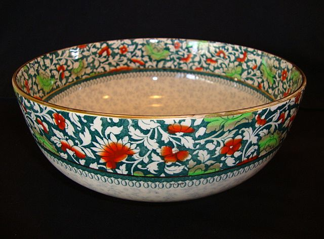 Wonderful Earthenware English Serving Bowl ~ Red & Green Flowers ~ Royal Doulton England 1911