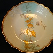 Beautiful Limoges France Porcelain Bowl with Robin Egg Blue Band and Raised Gold Flowers ~ Decorator: Burley & Tyrrell Chicago IL - 1900-1912
