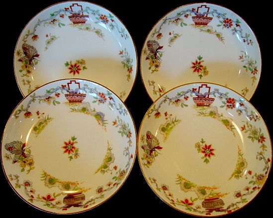 4- Nice English China Berry Bowls ~ Pekin Pattern ~ Decorated with Oriental Baskets, Butterflies and Flowers ~ Royal Worcester England 1912