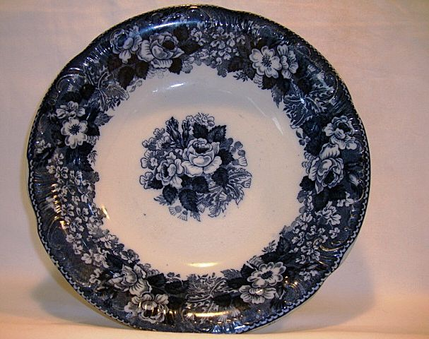 Fantastic English Earthenware ~ Blue & White Serving Bowl with Roses and Florals ~ Wild Rose Pattern: Williams Adams & Co Tunstell England 1893 into the early 1900's