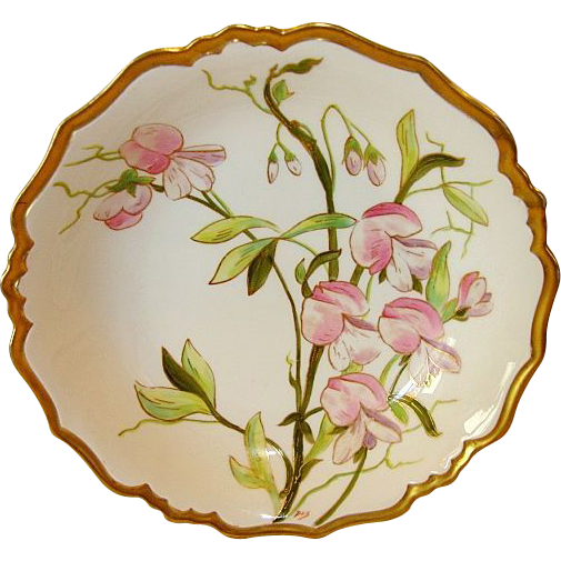 Exquisite Large Limoges Porcelain Serving Bowl ~ Hand Painted with Pink & Purple Sweet Peas ~ Blakeman & Henderson (B&H) Limoges France Early 1900's