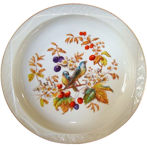 Exquisite Limoges Porcelain Master Serving Bowl ~ Factory Decorated with Birds & Fruit ~ Bawo & Dotter Limoges France 1870-1889