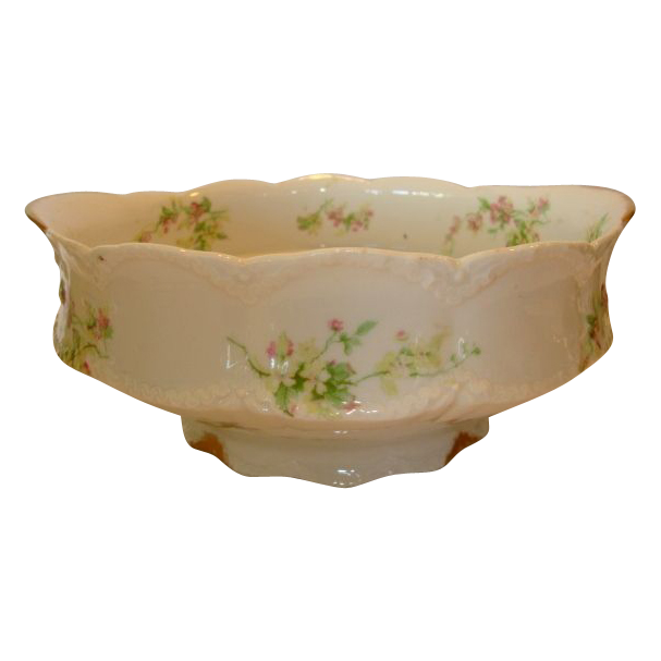 Wonderful Limoges Porcelain Master Serving Bowl ~ Pink & Yellow Flowers ~ Theodore Haviland Limoges France 1903