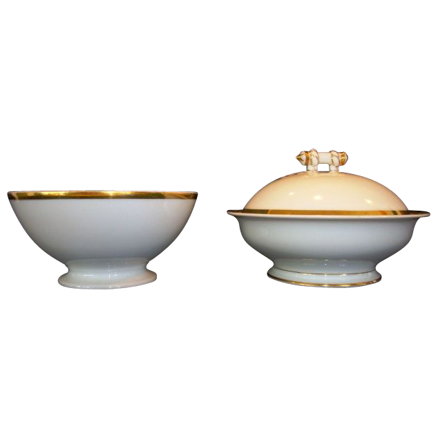 Wonderful French Condiment / Candy Bowl  & Covered Butter Dish ~ Limoges Porcelain  ~ White with Rope Design Finial ~ Haviland & Co Limoges France 1876-1889