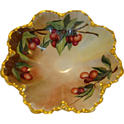 Gorgeous Bowl ~ Limoges Porcelain ~ Hand Painted with Cherries by E. Wiltse ~ ~ Ranson Mold Haviland France 1894-1931