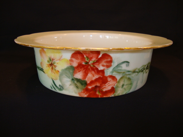 Colorful Soufflé Bowl ~ Limoges Porcelain ~ Hand Painted Orange and Yellow Nasturtium Flowers ~ Charles Ahrenfeldt Limoges France 1894-1910