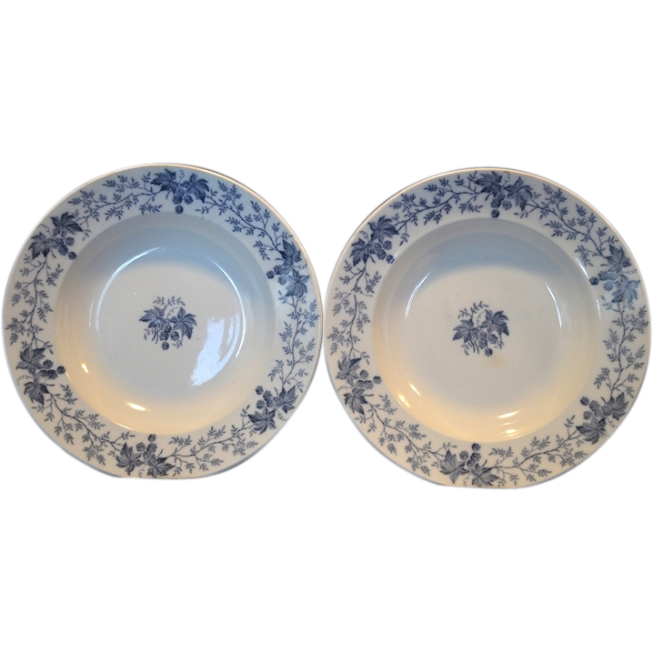 "2 ~Nice French Blue Faience 9 1/2"" W Soup Bowls~ Blue Leave & Vines ~ Houblon pattern ~ UTZCHNEIDER & CO (Sarreguemines, France) - ca 1900"