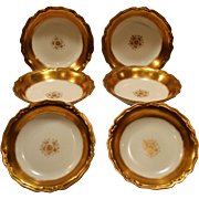 Beautiful Limoges Porcelain Berry or Dessert Bowls ~ Gold Rimmed ~ Blakeman & Henderson Limoges France 1900-1914