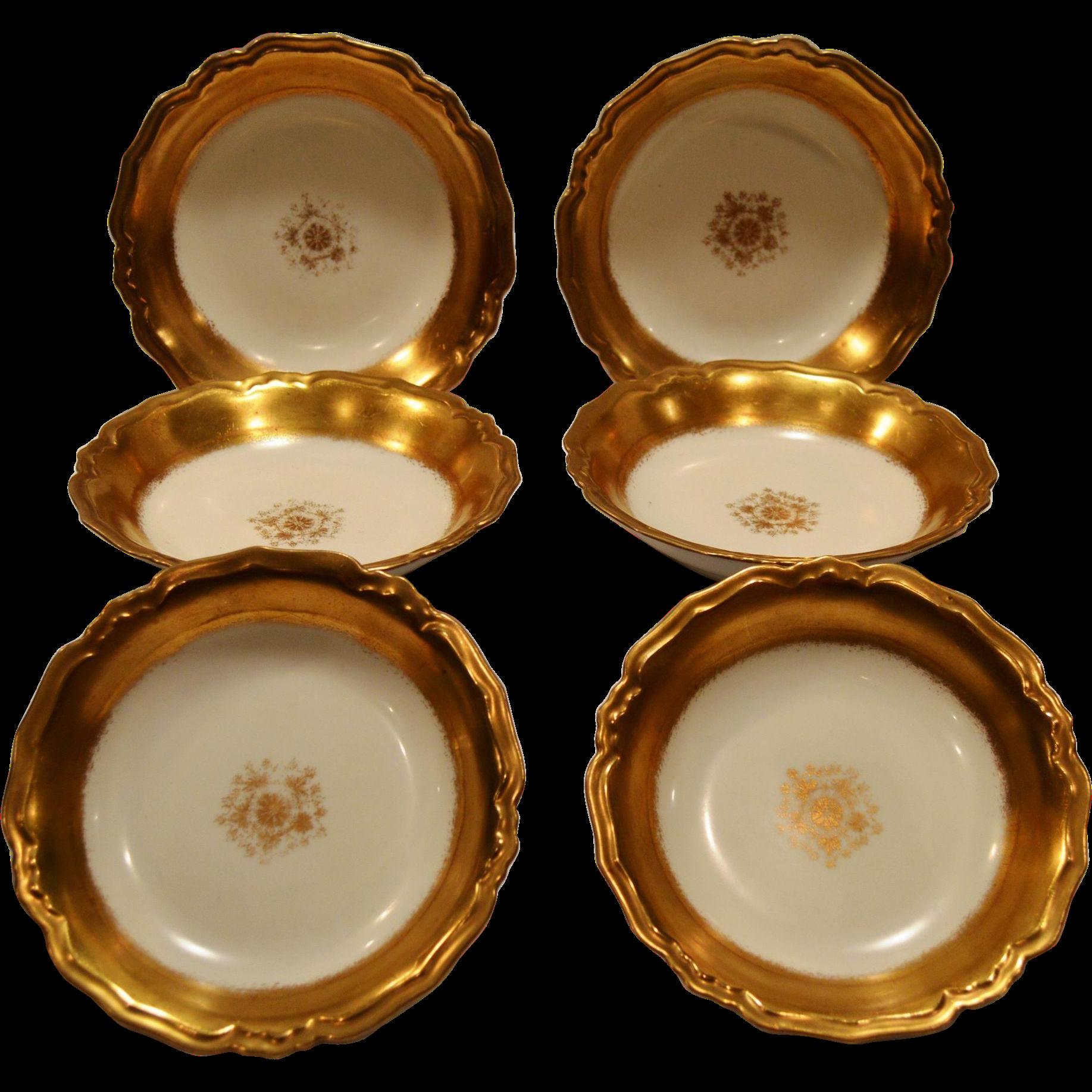 Beautiful Limoges Porcelain Berry or Dessert Bowls ~ Gold Rimmed ~ Blakeman & Henderson Limoges France 1900-1914